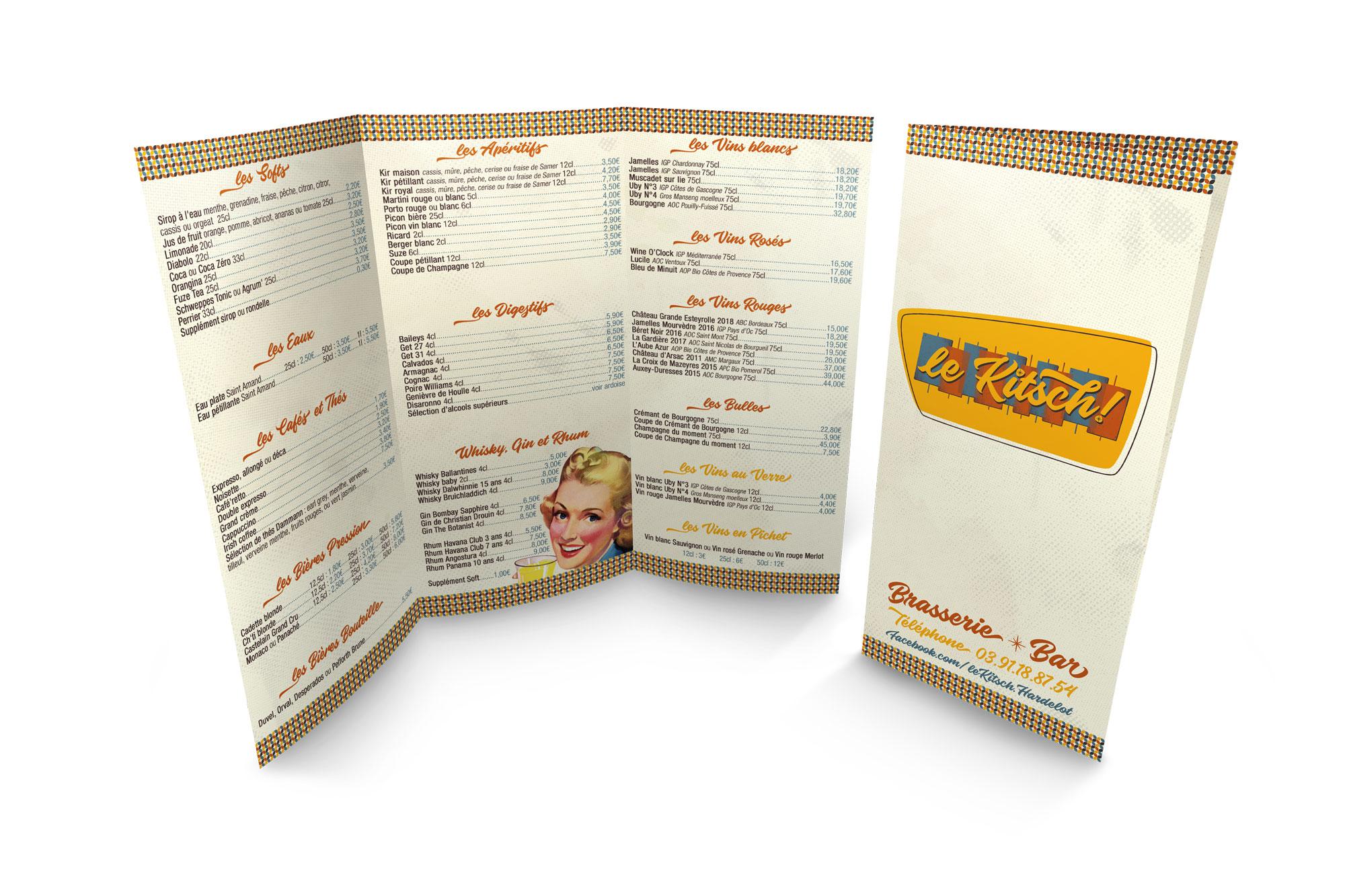 Cartes des boissons - Brasserie - Le Kitsch ! - Hardelot