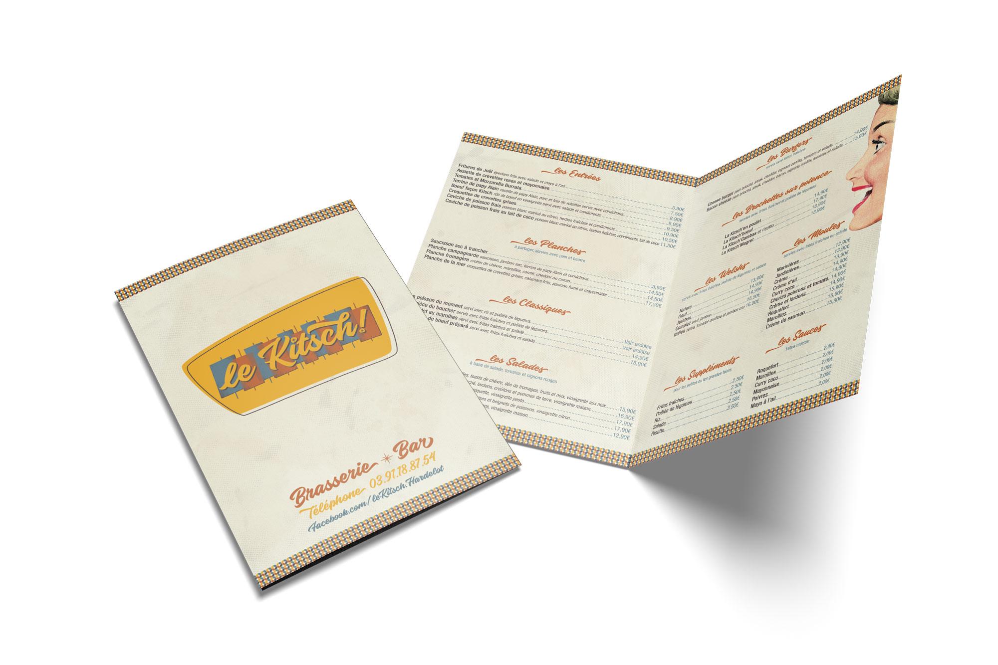 Menu de restaurant - Brasserie - Le Kitsch ! - Hardelot