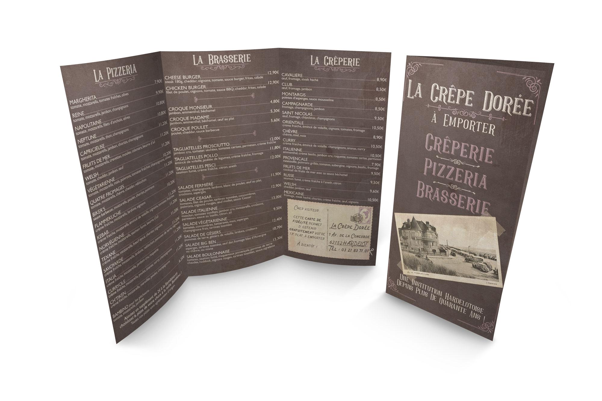 Menu dépliant - Brasserie - La Crêpe Dorée - Hardelot